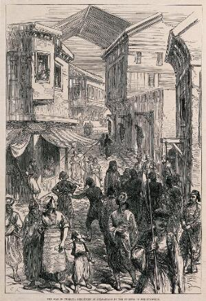 view Plovdiv (Philippopolis), Bulgaria: the hanging of Bulgarians by Turks. Wood engraving after C.R., 1876.
