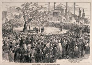 view The hanging of Hassan Bey in Constantinople. Wood engraving, 1876.