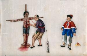 view A Chinese woman being subjected to torture while tied to a cross: the woman's torturer is shown using a knife to cut open her abdomen, arms and face, while a formally-dressed man looks on. Gouache painting on rice-paper, 18--?