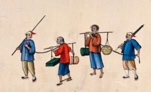 view Two Chinese prisoners carrying heavy loads on poles balanced on their shoulders: the men have their legs shackled and are led by two other men, who hold the long chains attached to the prisoners' necks. Gouache painting on rice-paper, 1780/1880?