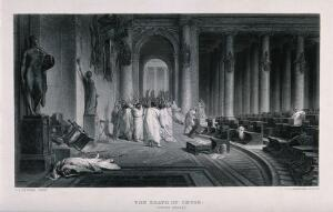 view The death of Julius Caesar: Caesar is lying on the ground, assassinated by a group of senatorial conspirators led by Cassius Longinus and Marcus Iunius Brutus on the ides of March. Etching by J.C. Armytage after J.L. Gérome.