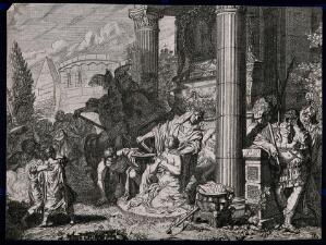 view The sacrifice of Iphigenia or Polyxena: the victim is about to have her throat cut and her blood caught in a bowl when a god with a drawn sword appears. Etching by G. de Lairesse.