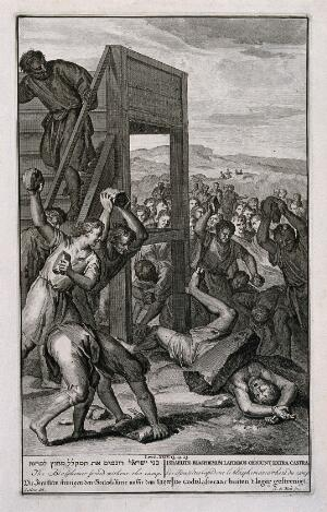 view The Israelites stoning blasphemers. Engraving by A. de Blois after G. Hoet.