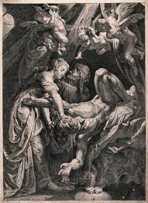 view Judith decapitating Holofernes with a sword. Line engraving by C. Galle after P.P. Rubens.
