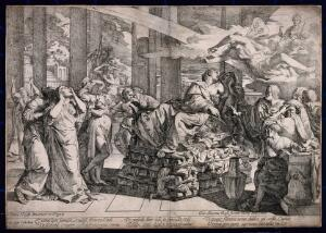 view The suicide of Dido: Dido seated on a pyre surrounded by distressed servants. Etching by G.C. Testa after P. Testa.