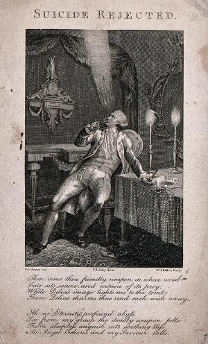 view Charles James, seated at his desk with candles burning, contemplating suicide, holds a pistol to his mouth. Engraving by W. Skelton after C.R. Ryley after C. James.