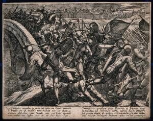view A battle between the Romans and the Batavians in the Rhineland: the Batavians are storming over a bridge breaking into the camp of the Romans. Etching by A. Tempesta after O. van Veen, 1612.