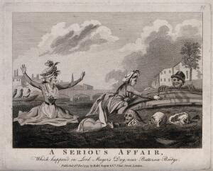 view A boat capsized on the Thames leaving three ladies and four men swimming to the shore. Engraving.
