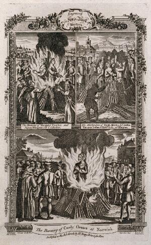 view Above, the martyrs Cicely Ormes and Margaret Thurston are burnt back to back at the stake in Colchester and the burning at a stake in Islington of the martyrs Ralph Alderton, Margery Austoo and R. Roth; below the burning of the martyr Cicely Ormes in Norwich. Etching by G. Terry.