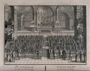 view An auto-da-fé of the Spanish Inquisition held in a church. Engraving by B. Picart.