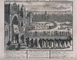 view Detail of a procession of the Spanish Inquisition in Goa entering the church with standards and banners. Engraving.