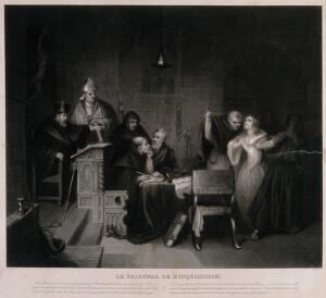 view A distressed young woman protests her innocence and prays before the judge and the counsel of the Spanish inquisition. Aquatint by Jazet after S.J.E. Jones.