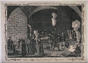 view The inside of a jail of the Inquisition, with a priest supervising his scribe while men and women are suspended from pulleys, tortured on the rack or burnt with torches. Etching.