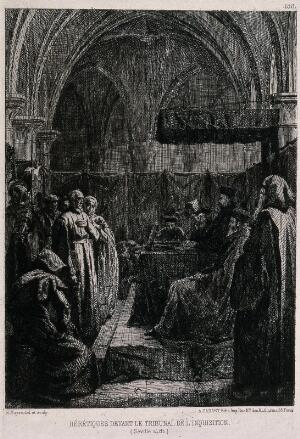 view Accused heretics standing before a tribunal of the Spanish Inquisition in Sevilla. Etching by E. Moyse.