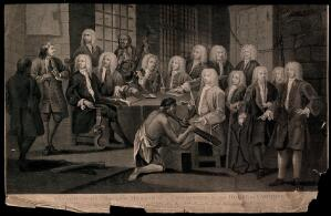 view Thomas Bambridge, warden of the Fleet prison, before a committee of the House of Commons visiting the prisons. Engraving by T. Cook after W. Hogarth.