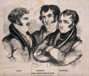 view The portraits of Hunt, Probert and Thurtell. Engraving by White.