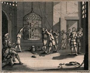 view A prisoner is shown a cage which is suspended from the ceiling and already contains another prisoner. Etching by W. Longman after G. Milder.