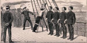 view A sailor is stripped to the waist, tied to a ladder and being flogged with a cat-o'-nine-tails while four sailors are waiting for their turn to flog him. Wood engraving by W.R.