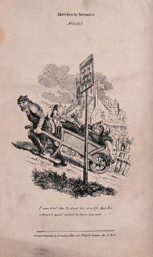 view A man has to carry his overweight wife in a wheelbarrow up a steep mountain to the great amusement of onlookers. Etching.