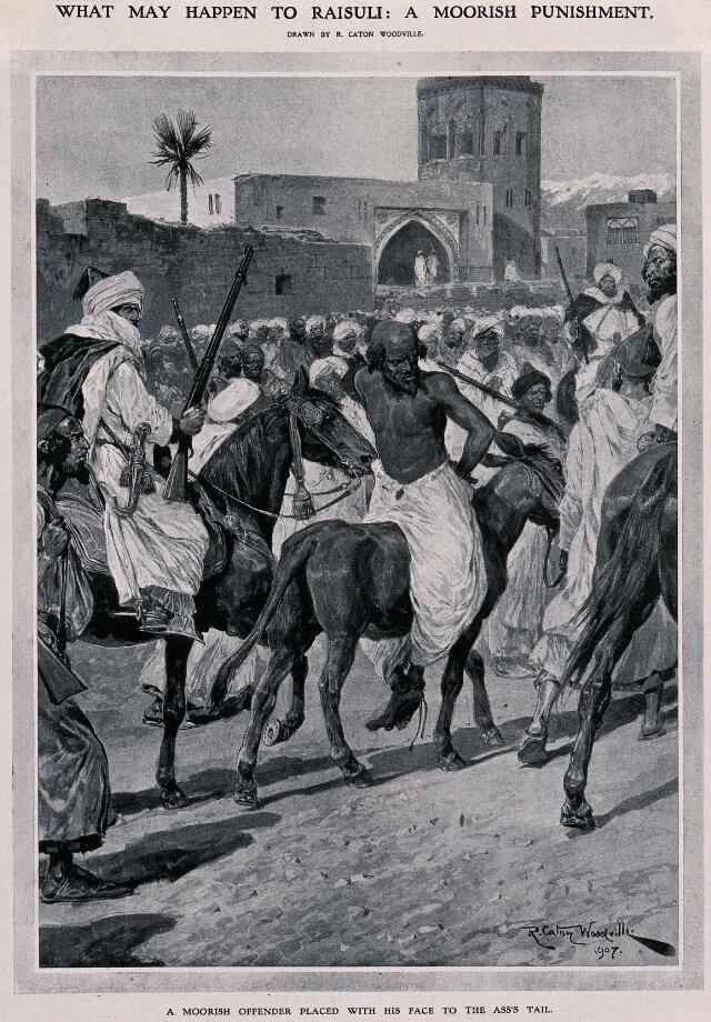 a moorish offender is tortured by being placed backwards on an ass and dragged through town in this position line block after r c woodville 1907
