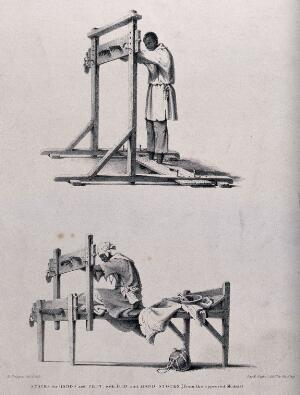 view Two different types of stocks: the above confines the hands and feet of the culprit standing upright; the model below confines the hands and feet while the culprit is seated. Chalk lithograph by R. Bridgens.