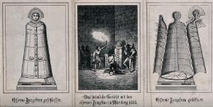 """view Left, an """"iron maiden"""" with its doors secured; middle, a blindfolded prisoner is forced to kneel down before the """"iron maiden"""" in a dungeon; right, an """"iron maiden"""" with its doors open. Etching."""