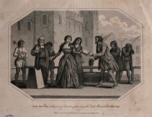 view Lady Jane Grey is led to her execution, handing over her table-book to Sir John Gage. Line engraving with etching by Warren after Hamilton, 1802.