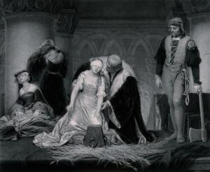 view Lady Jane Grey is blindfolded and led to the execution block where the executioner waits, axe in hand. Line engraving by P. Mercury after H. Delaroche.