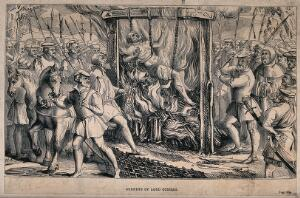 view The burning of Sir John Cobham, Lord Oldcastle, a Lollard and follower of John Wycliffe, in London in 1417. Wood engraving.