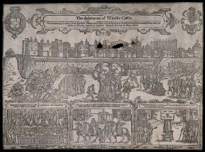 view Above, the burning at the stake of Person, Testwood and Filmer outside Windsor Castle; below, the trial of Marbeck, Testwood, Person and Filmer, the punishment of London, Simons and Robert Ockham in the pillory. Woodcut by A.S.