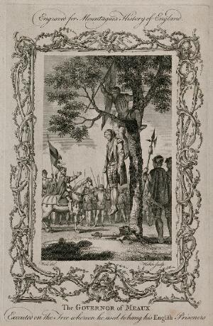 view The governor of Meaux hanged on a tree in full armour. Engraving with etching by Walker after S. Wale.