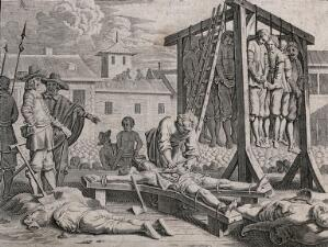 view Mass executions on a scaffold before a crowd of spectators: a group of people is hanged together from a gibbet, while others are beheaded, crucified and disembowelled. Engraving with etching, 16--.