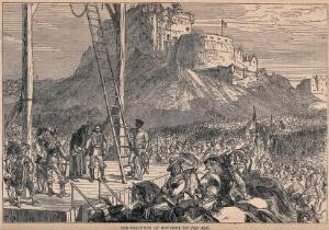 view James Graham Marquess of Montrose about to mount the ladder to the gibbet in the marketplace of Edinburgh. Wood engraving after C.R.