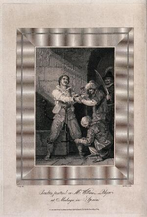 view The torture of William Lithgow in the dungeons of the Inquisition in Malaga in 1620. Line engraving with etching by W. Raddon after Craig.