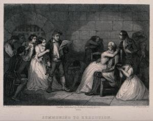 view A gaoler, wearing a Phrygian cap, reading out summons for executions to distressed prisoners of the French Revolution. Line engraving by W. Greatbach after A. Johannot, 1881.