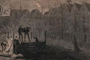 view Workmen prepare the scaffold for an execution at night with one workman pointing at a ghostly figure dressed in black rushing past the block. Etching by G. Cruikshank.
