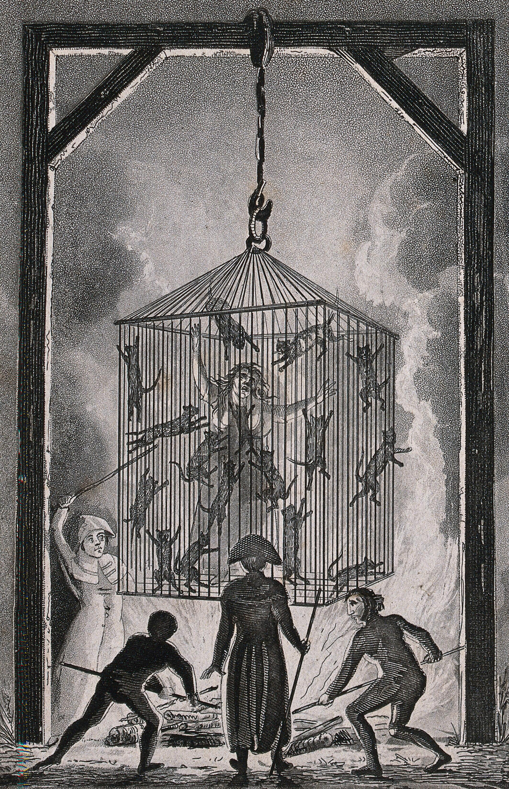 The burning of Louisa Mabree, the French midwife in a cage
