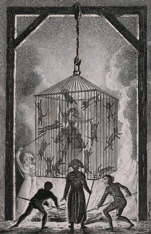 view The burning of Louisa Mabree, the French midwife in a cage filled with black cats suspended over a blazing fire. Aquatint.