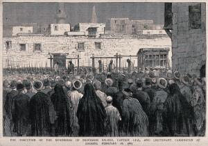 view The hanging of the murderers of Edward Palmer, William Gill and Harold Charrington at Zagazig, Egypt, in 1883. Wood engraving by Harrison.