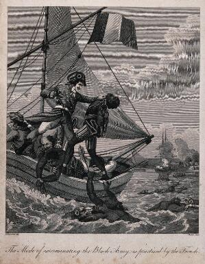 view French sailors throwing manacled black soldiers off a ship into the a sea populated by large carnivorous animals. Engraving by J. Barlow after M. Rainsford.