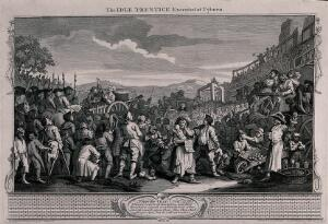 view A crowd of spectators wait as Tom Idle is driven in a cart with his coffin to his place of execution and the gallows. Engraving by William Hogarth, 1747.