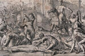 view A Turkish army taking a town fortification mutilating, flaying and disembowelling their enemies behind the lines. Etching.