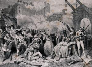 view The storming of the Bastille on the 14 July 1789. Line engraving with etching after H. Singleton.