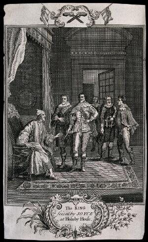 view King Charles I at Holdenby House (Holmby House), Northamptonshire, is summoned by Cornet Joyce, who shows the King his pistol as his authority. Engraving after P. Angelis.