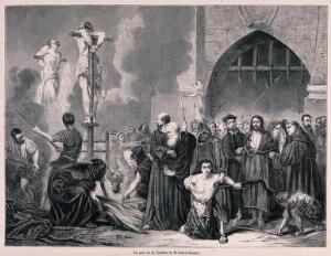 view An auto-da-fé of the Spanish Inquisition: the burning of heretics in a market place. Wood engraving by H.D. Linton after Bocourt after T. Robert-Fleury.