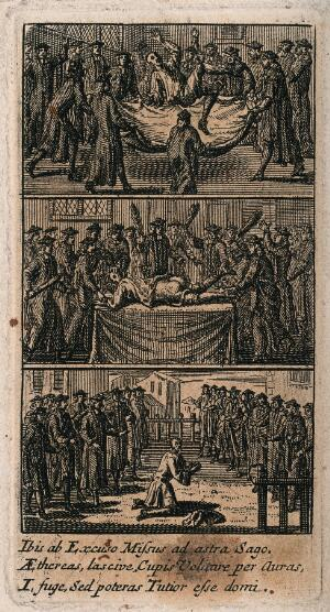 view Three different methods of punishment and torture, including scourging the bare buttocks of a culprit. Etching.