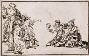 view A distressed woman cradles the body of a dying child in her arms while another woman holds a mask in her right hand. A bearded man and two women watch the scene from a distance. Etching by J. Gregory after M.L.L. Willmann, 1794.
