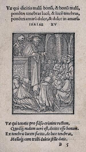 view The dance of death: the preacher. Woodcut by Hans Holbein the younger.
