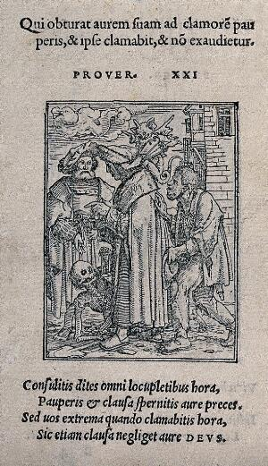 view The dance of death: the senator. Woodcut by Hans Holbein the younger.