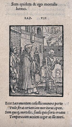 view The dance of death: the parish priest. Woodcut by Hans Holbein the younger.